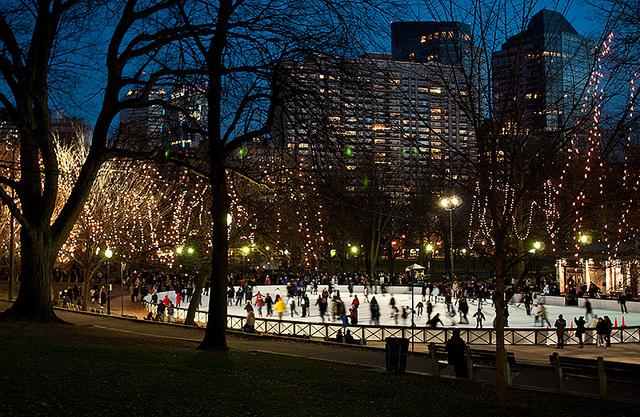 Winter Skating on Boston Common Frog Pond