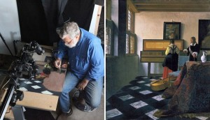 Left, Tim Jenison, with part of the optical apparatus he created above him, at work in his San Antonio studio. Right, Vermeer's The Music Lesson, the painting Jenison chose to re-create.