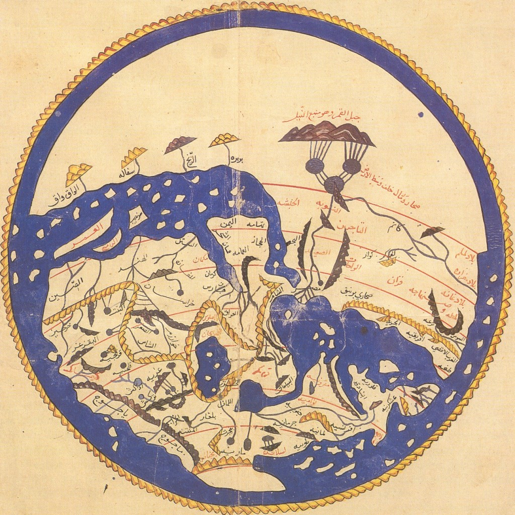 1154_world_map_by_Moroccan_cartographer_al-Idrisi_for_king_Roger_of_Sicily