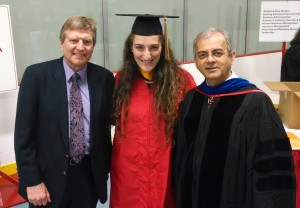 Irina Kofman with Professors Roger Warburton and Vijay Kanabar.