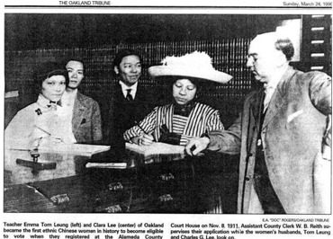 Image Description: Clara Chan Lee and Emma Tom Leung become 1st Asian American women to register to vote in 1911. Image via Smithsonian APA