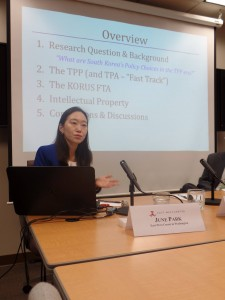 Presentation on South Korea's Policy Choices in the TPP Era, East-West Center in Washington, April 10, 2015.