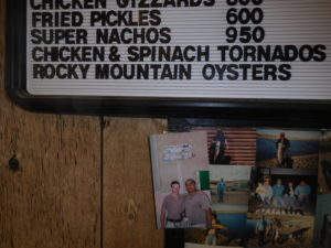 Menu with Rocky Mountain oysters